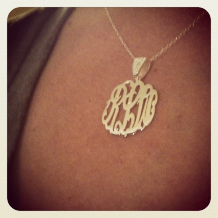 Zale's silver monogrammed necklace