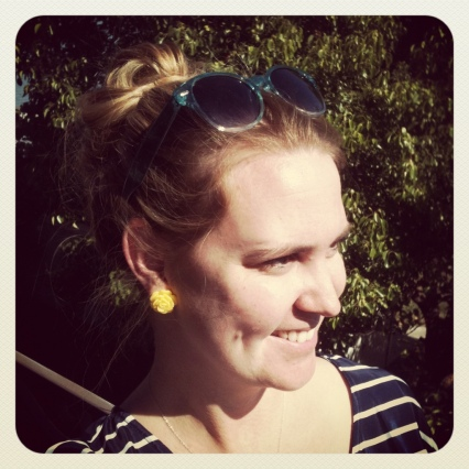 yellow flower studs and topknot