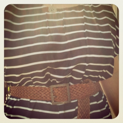 navy striped tunic with braided belt