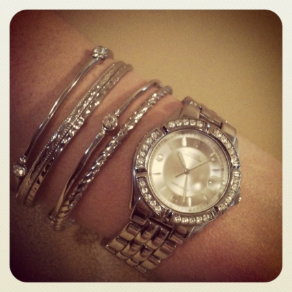 silver bangles with guess silver watch