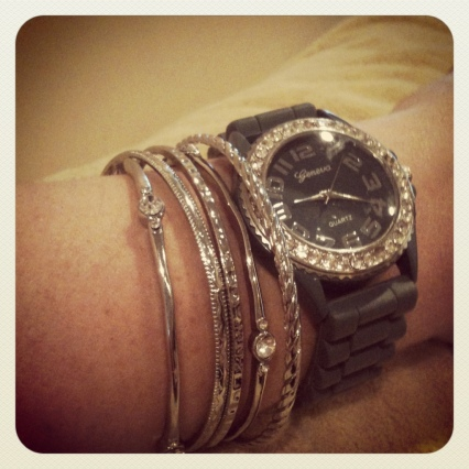 silver bangles with gray rok rubber candy watch