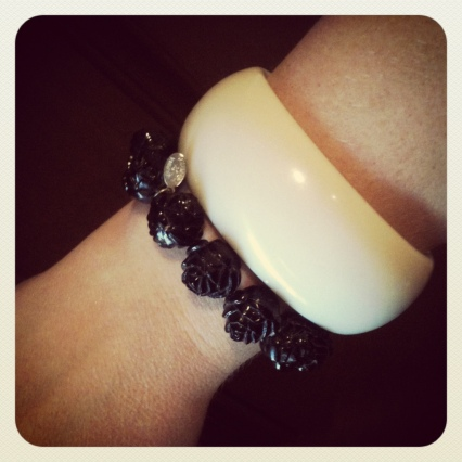 tarina Tarantino black rose bracelet and chunky bone enamel bracelet from forever 21