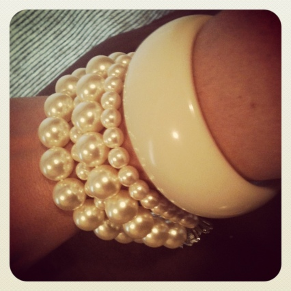 pearl strand forever 21 made into bracelet with chunky bone enamel bracelet