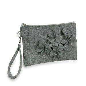 gray felt floral wristlet amazon