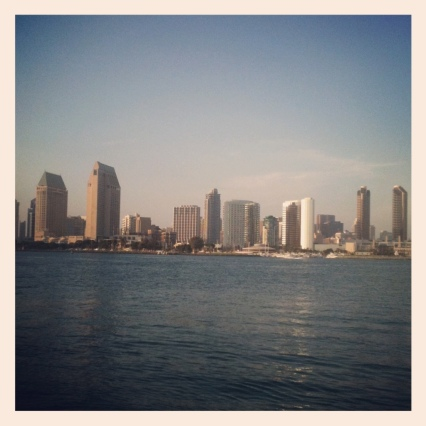 view of San Diego downtown skyline from Coronado ferry