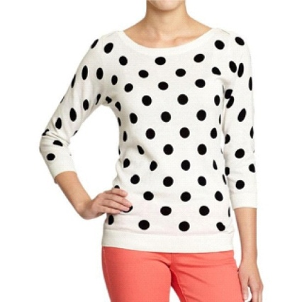 old navy polka dot<br /><br /> Boatneck sweater