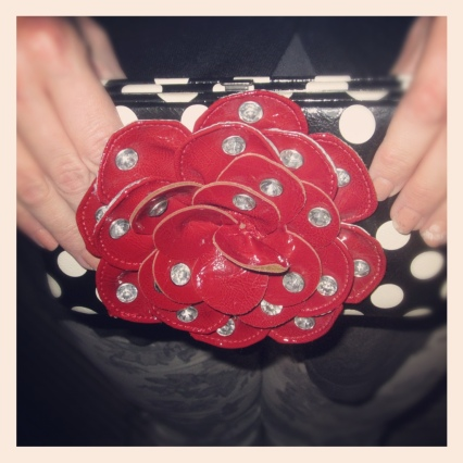 polka dot clutch with rose