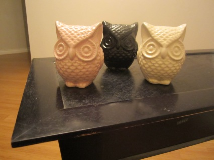 black pink cream ceramic owls from 99 cent only store