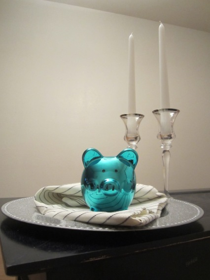 metallic blue pig from 99 cent only store in holiday place setting