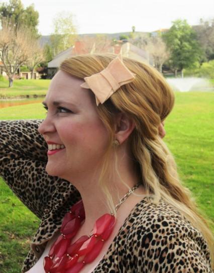 blush hair bow alice ivory valentine's day style