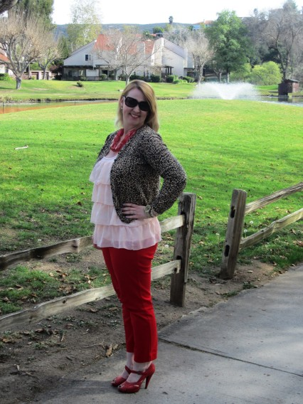 valentine's day look ootd leopard cardigan blush top red pants and heels