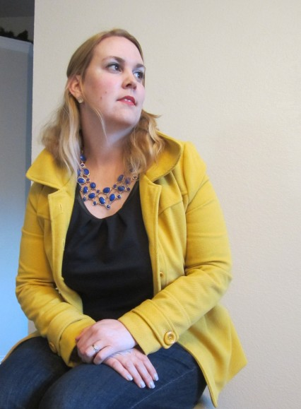 yellow francesca's coat and i heart shimmer blue necklace