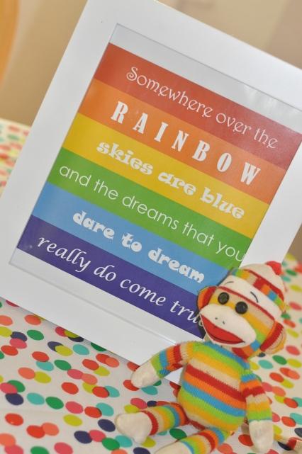 rainbow kids birthday party somewhere over the rainbow printable sock monkey